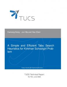A Simple and Efficient Tabu Search Heuristics for Kirkman ... - CiteSeerX
