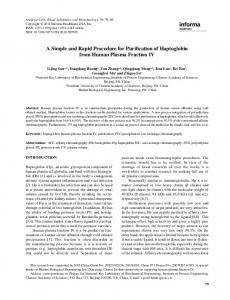 A Simple and Rapid Procedure for Purification of Haptoglobin from ...