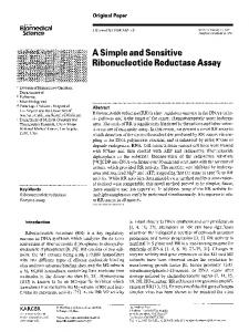 A simple and sensitive ribonucleotide reductase assay - Springer Link
