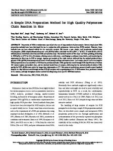 A Simple DNA Preparation Method for High Quality Polymerase Chain ...