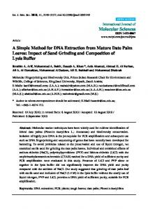 A Simple Method for DNA Extraction from Mature ... - Semantic Scholar