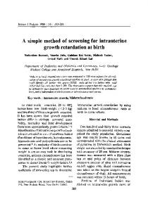 A simple method of screening for intrauterine growth ... - Springer Link