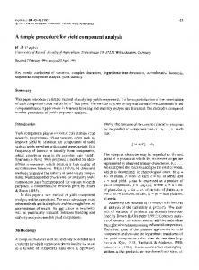 A simple procedure for yield component analysis - Springer Link