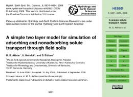 A simple solute transport model - hessd