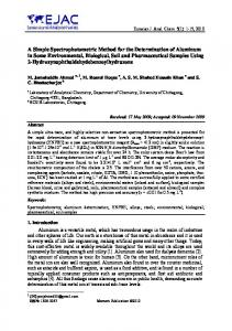 A Simple Spectrophotometric Method for the Determination of ...