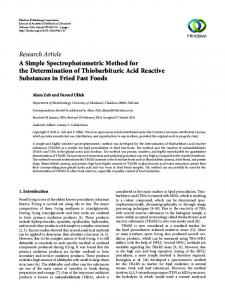A Simple Spectrophotometric Method for the Determination of