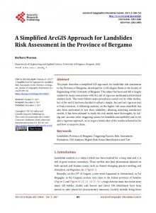 A Simplified ArcGIS Approach for Landslides Risk Assessment in the