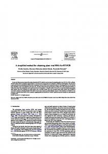 A simplified method for obtaining plant viral RNA for ...