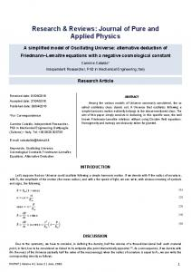 A Simplified Model of Oscillating Universe - Research and Reviews