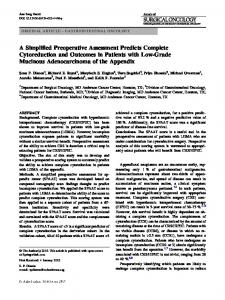 A Simplified Preoperative Assessment Predicts