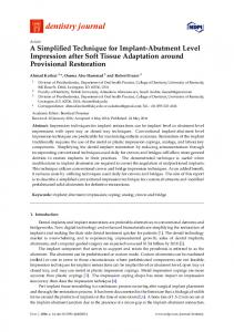 A Simplified Technique for Implant-Abutment Level Impression ... - MDPI