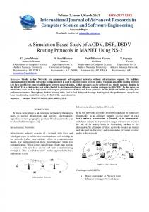 A Simulation Based Study of AODV, DSR, DSDV Routing ... - IJARCSSE