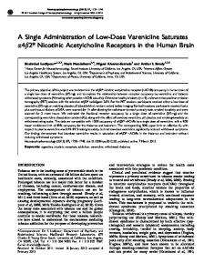A Single Administration of Low-Dose Varenicline Saturates &alpha ...