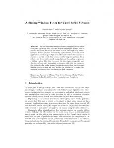 A Sliding Window Filter for Time Series Streams - CEUR Workshop ...