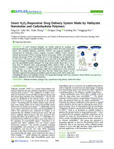 A Smart H2O2-Responsive Drug Delivery System Made by Halloysite ...