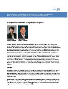 A Snapshot Of Renewable Energy Project Litigation