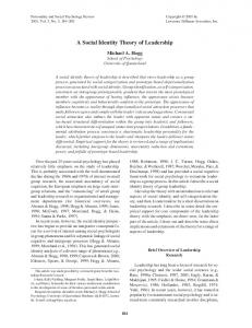 A social Identity Theory of Leadership. Personality and ... - CiteSeer