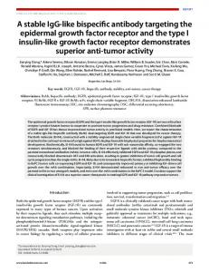 A stable IgG-like bispecific antibody targeting the epidermal growth ...