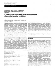 A standardised protocol for the acute management of corrosive ...