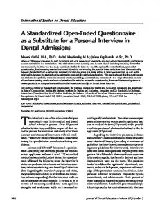 A Standardized Open-Ended Questionnaire as a Substitute for a ...