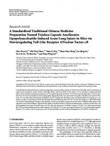 A Standardized Traditional Chinese Medicine Preparation Named ...