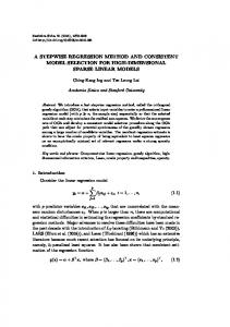 a stepwise regression method and consistent model selection for high ...