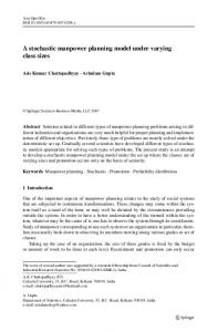 A stochastic manpower planning model under ... - Semantic Scholar