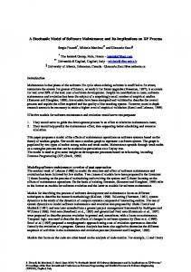 A Stochastic Model of Software Maintenance and Its ... - CiteSeerX