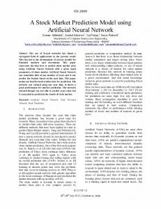 A Stock Market Prediction Model using Artificial Neural Network