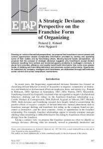 A Strategic Deviance Perspective on the Franchise Form of Organizing