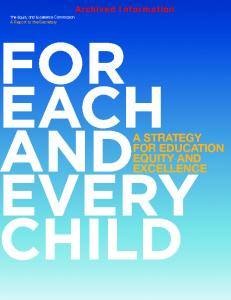 A Strategy for Education Equity and Excellence
