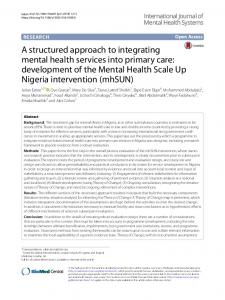 A structured approach to integrating mental health services into ...