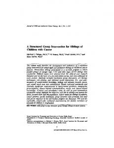 A structured group intervention for siblings of children with cancer