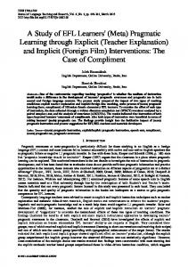 A Study of EFL Learners - Academy Publication