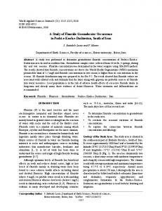 A Study of Fluoride Groundwater Occurrence in Posht-e ... - CiteSeerX