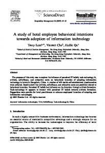 A study of hotel employee behavioral intentions ...
