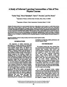 A Study of Informal Learning Communities: a Tale of ... - ComPADRE.org