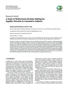 A Study of Multicriteria Decision Making for Supplier Selection in ...