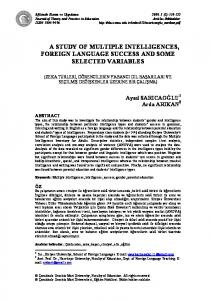 a study of multiple intelligences, foreign language success and - Eric