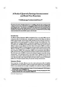 A Study of Quarterly Earnings Announcement and Stock ... - EBSCOhost
