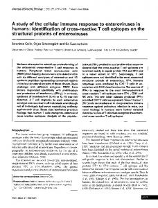 A study of the cellular immune response to enteroviruses ... - CiteSeerX