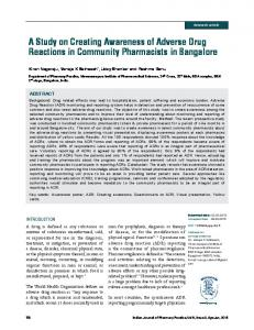A Study on Creating Awareness of Adverse Drug Reactions in ...