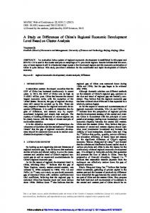 A Study on Differences of China's Regional Economic Development ...