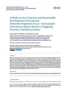 A Study on Eco-Tourism and Sustainable Development of Economic ...