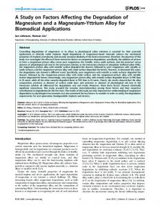 A Study on Factors Affecting the Degradation of ... - Semantic Scholar