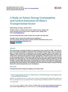 A Study on Future Energy Consumption and Carbon Emissions of ...