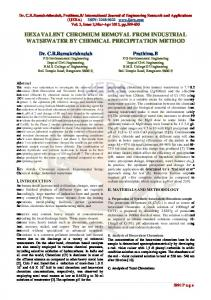 a study on hexavalent chromium removal by chemical ... - CiteSeerX