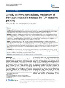 A study on immunomodulatory mechanism of Polysaccharopeptide ...