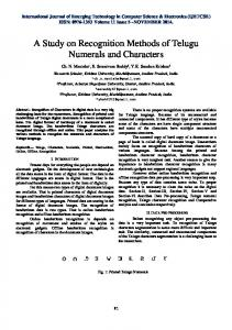 A Study on Recognition Methods of Telugu Numerals and Characters