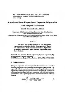 A study on Some Properties of Legendre Polynomials and Integral